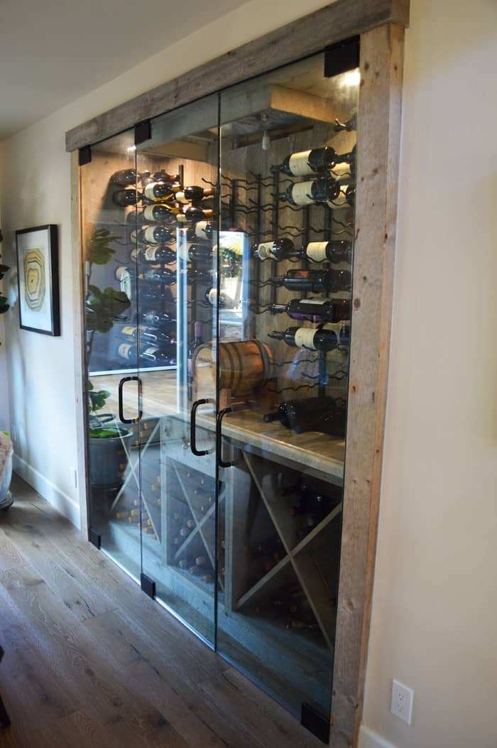 Steve's team installed glass doors to seal off any possible chance for mold growth in the wine cellar.