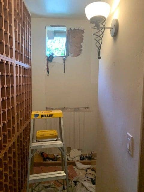 Steve's team removed the self-contained cooling unit and replaced it with split type cooling unit. Cooling of the wine cellar is better now and there's no formation of molds on surfaces of the wine racks.