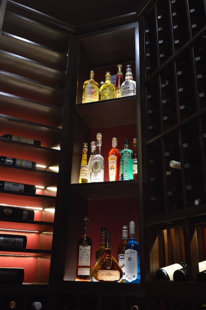 The owner's fondness for liquor inspired the team to create shelf exclusively for spirits.