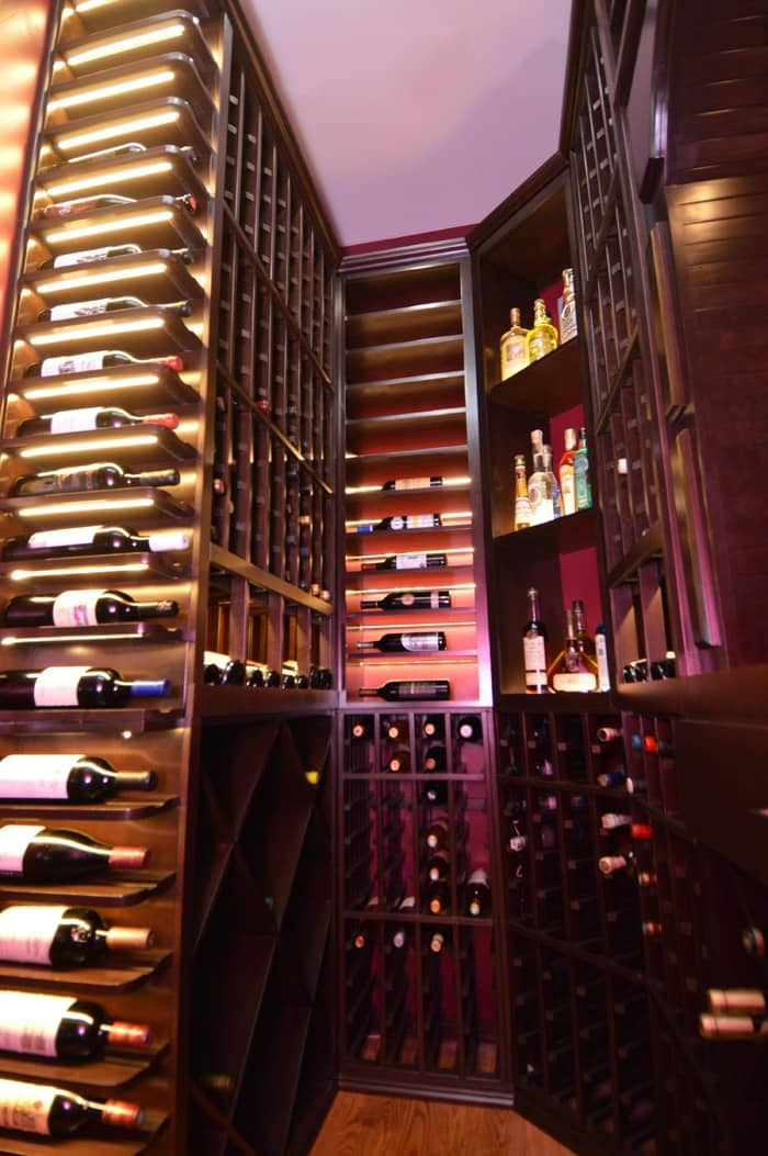 The well-designed wine racking system with perfectly placed lighting gives this wine cellar a very dramatic effect.