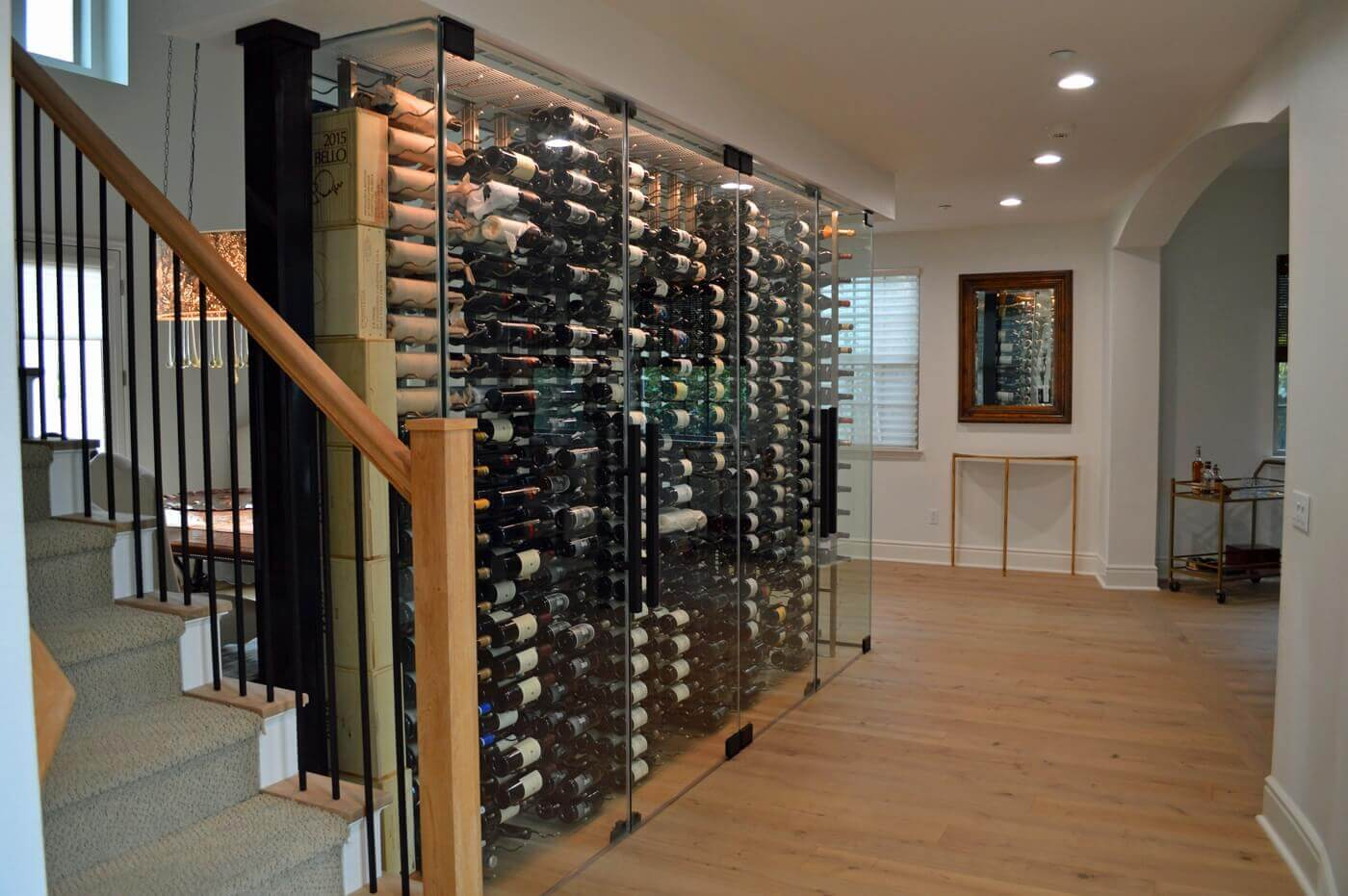 The wine cellar covers minimal space but can store a large number of wine bottles.