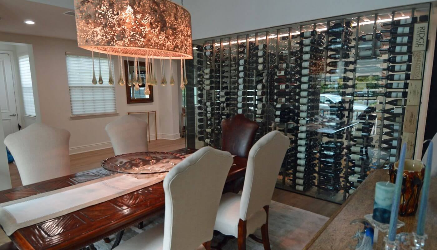 The wine cellar looks even more spectacular with the lighting turned on.