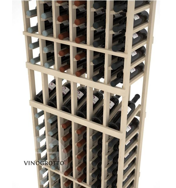 Closer Look of a 6 Foot 6 Column Display Wine Rack made in Pine Wood by Vinogrotto