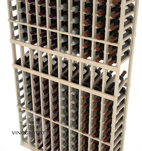 This is a closer look of a 7 foot combo 10 Column display wine rack by Vinogrotto