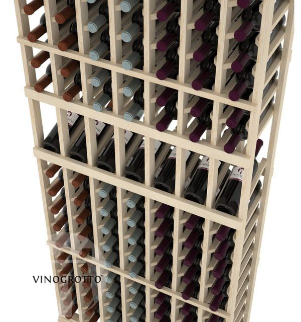 This is a closer look of a 7 foot combo 7 Column display wine rack by Vinogrotto