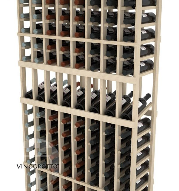 This is a closer look of a 7 foot combo 8 Column display wine rack by Vinogrotto