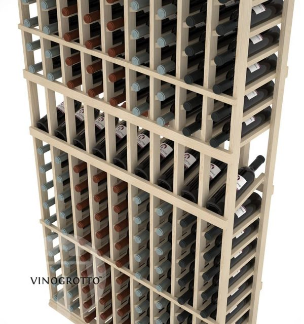 This is a closer look of a 7 foot combo 9 Column display wine rack by Vinogrotto
