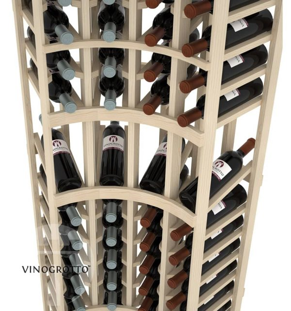 This is a closer look of a 7 foot combo curved corner display wine rack by Vinogrotto