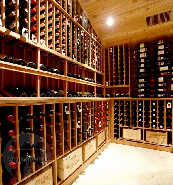 Traditional wooden display wine rack and case storages underneath