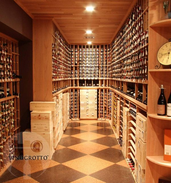 Vinogrotto traditional wooden wine racks with wine boxes and drawers